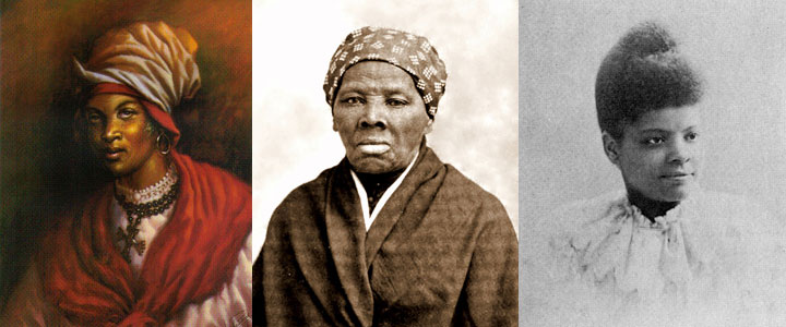 ID: Images of three historical Black women: Cecile Fatiman, Harriet Tubman, and Ida B. Wells. Happy Black Herstory Month !