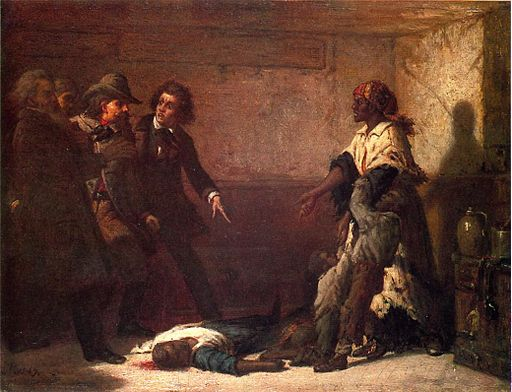 ID: Painting depicts Margaret Garner in a room with several white men and a dead body.