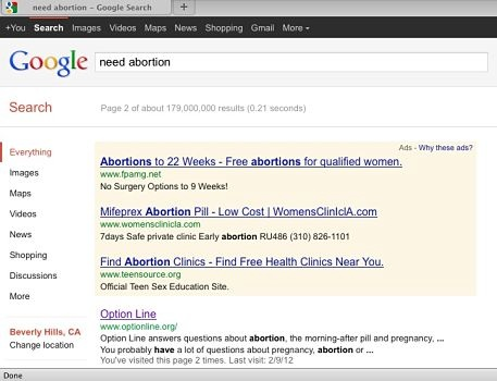 "ID: screenshot of google results for the phrase ""need abortion"""