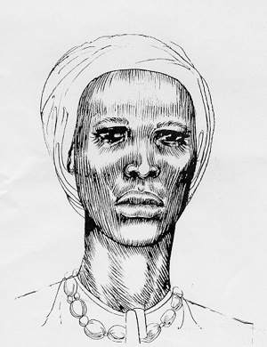 ID: A drawing of Nanny of the Maroons from the National Library of Jamaica