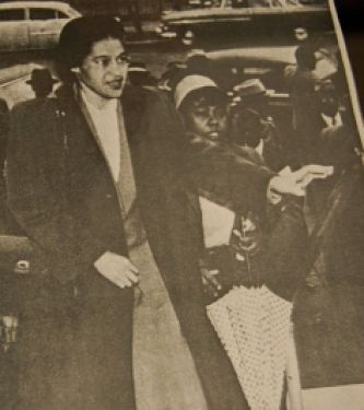 ID: Image of rosa parks from a newspaper at the time of her activism
