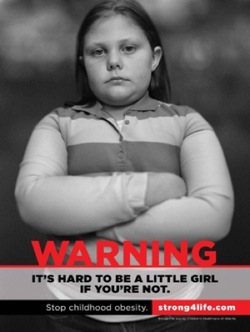 ID: Photo from Stand4Life anti-childhood-obesity campaign, which employs fat shaming tactics