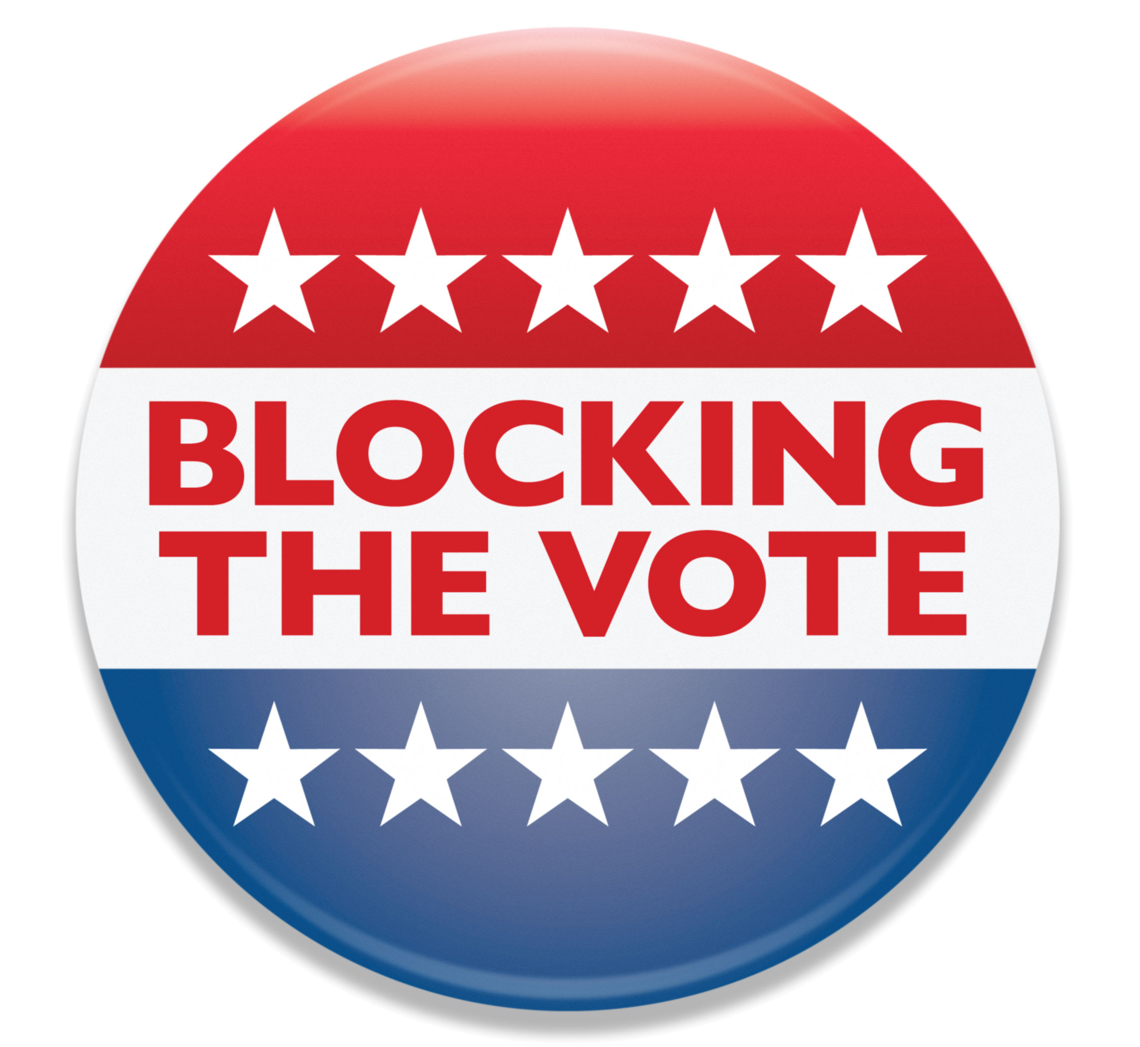 """Icon reads """"blocking the vote."""" your voting rights are under attack."""