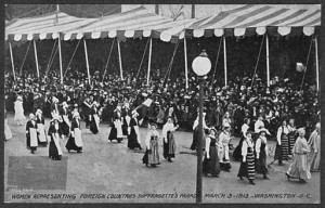 Women representing foreign countries in the 1913 suffrage march.