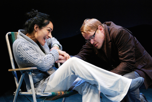 Nicole Shalhoub and Corey Brill in South Coast Repertory's 2014 world premiere of FIVE MILE LAKE by Rachel Bonds