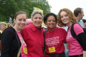 FM president Eleanor Smeal (second from left) and volunteers at the march.