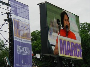 Farmworker organizer Dolores Huerta speaks at the March.