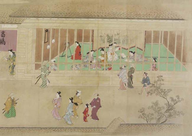 "Hishikawa Moronobu's 58-foot-long handscroll ""A Visit to the Yoshiwara"" shows courtesans on display through lattice walls that resemble cages at a zoo. (From the John C. Weber Collection, image © John Bigelow Taylor)"