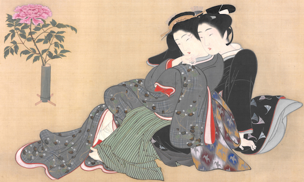 """A young couple cuddles near a peony in a vase, which symbolizes their sexual connection, in a panel from Katsukawa Shunshō's """"Secret Games in the Spring Palace,"""" from the late 1770s. (From the John C. Weber Collection, image © John Bigelow Taylor)"""