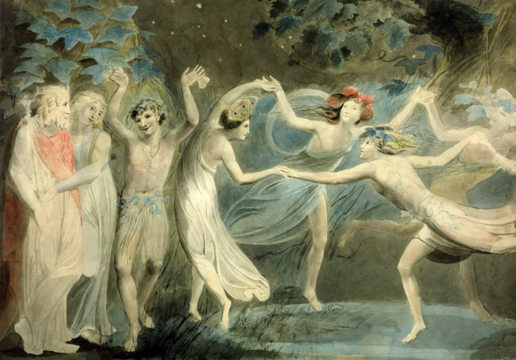 Oberon, Titania and Puck with Fairies Dancing circa 1786 William Blake via Wikimedia and licensed through Creative Commons
