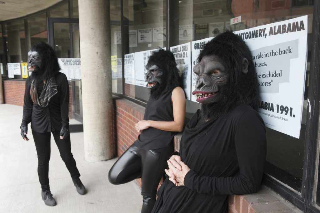 "Guerrilla Girls artists Kathe Kollwitz, Zubeida Agha and Frida Kahlo during a press preview for an exhibition of works by the Guerrilla Girls titled ""Not Ready To Make Nice: 30 Years And Still Counting,"" at the Abrams Art Center, 466 Grand St, New York, NY on Thursday, April 30, 2015. (Andrew Hinderaker)"