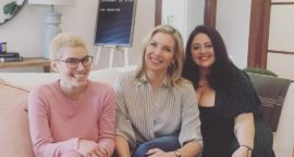 ms. digital editor carmen rios on a couch with the jane club co-founders june diane raphael and jess zaino