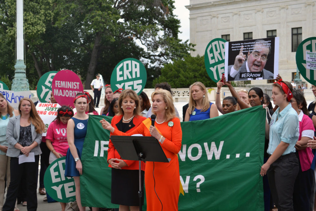 Rep. Maloney (R) and Rep. Jackie Speier rallying at the steps of the Supreme Court for the Equal Rights Amendment in 2014. (Rep. Maloney on Flickr)