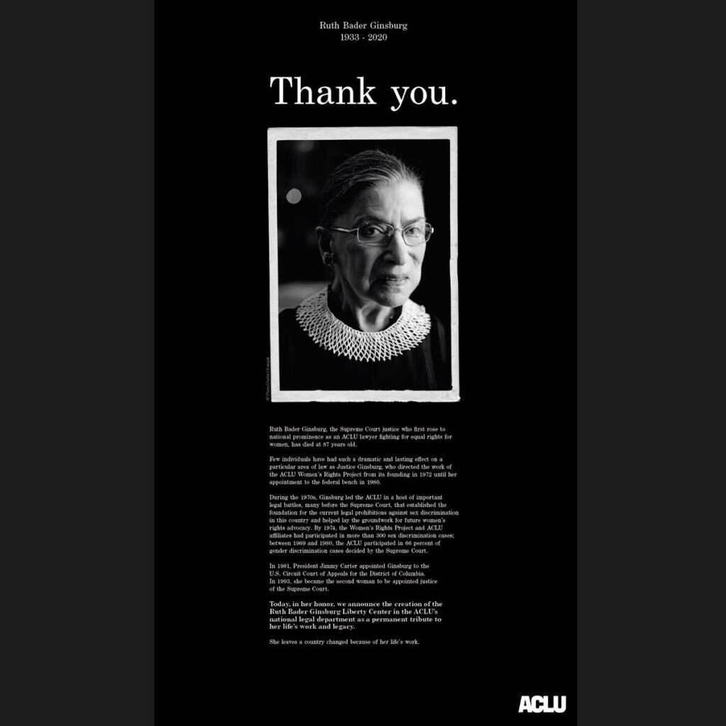 We Heart: ACLU Dedicates Full-Page Ads to Justice Ruth Bader Ginsburg