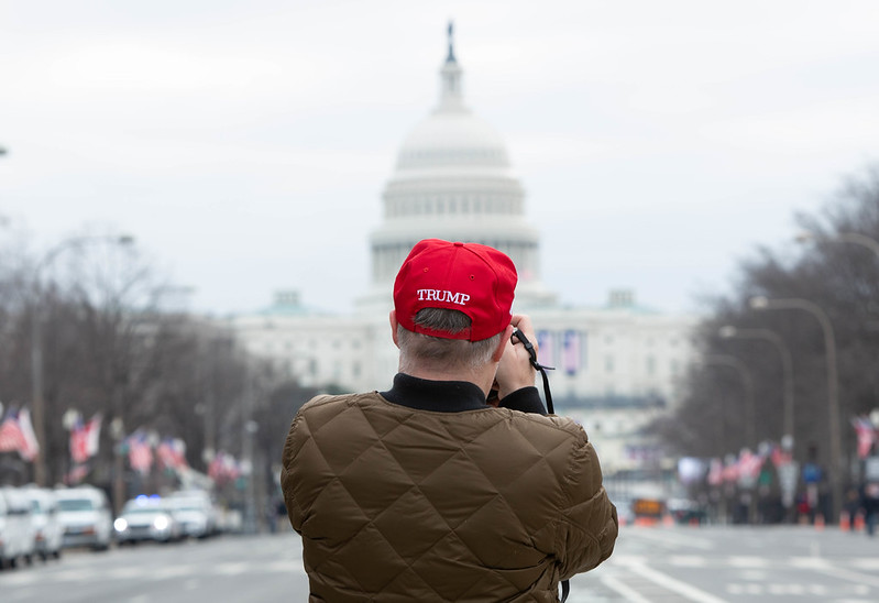 "Image description: the upper half of a person, standing in front of the capitol building in washington dc. their back is to the camera and they are wearing an olive green bomber jacket and a red hat that reads ""trump"" on the back."