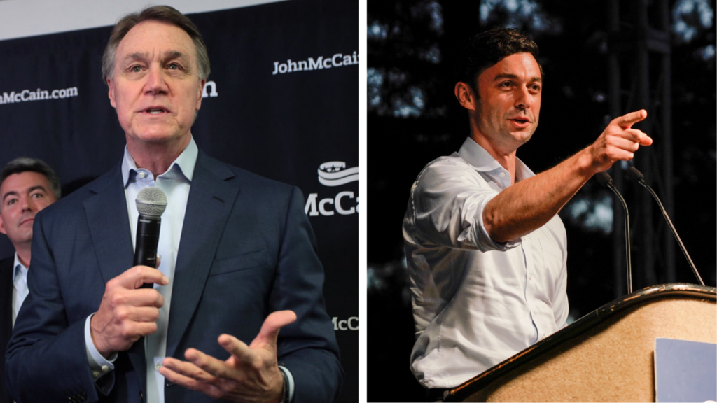 Image description: two pictures side by side, the first is of David Perdue speaking into a microphone, the second is of Jon Ossoff speaking at a podium. Georgia Residents: Everything You Need to Know to Vote in the January Runoff