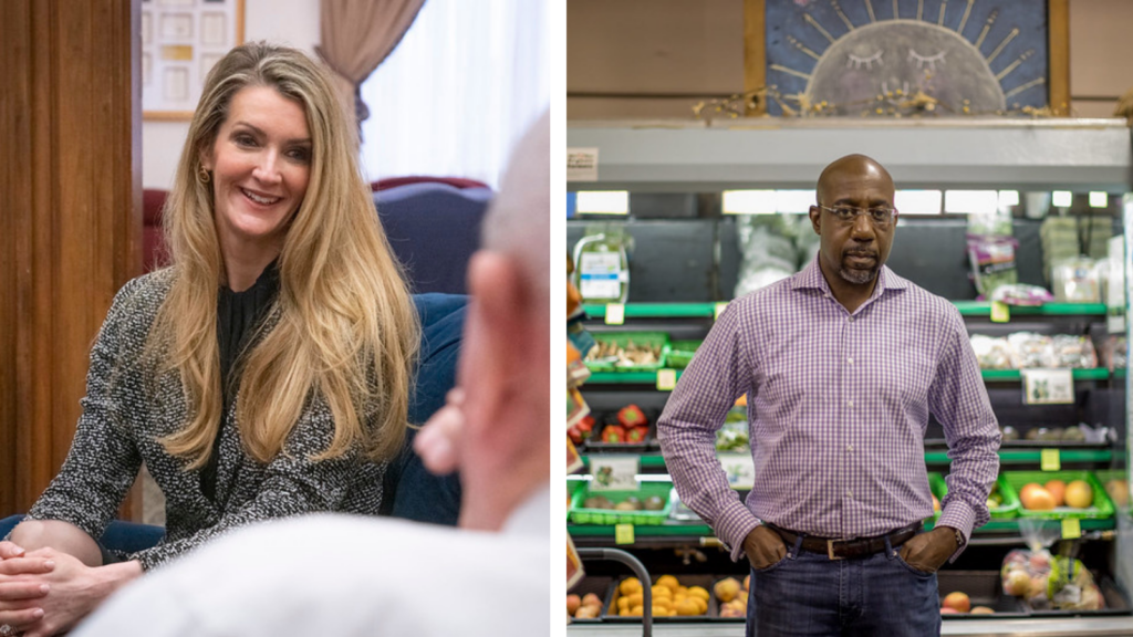 image description: two images side by side, the first is of Kelly Loeffler seated with her hands clasped wearing a grey blazer, the second is of Raphael Warnock standing with his hands in the pockets of his jeans, in front of a grocery store produce section.