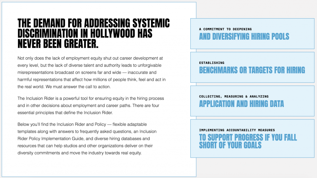Keeping Promises: The Newly Updated Inclusion Rider Helps Hollywood Diversify Hiring