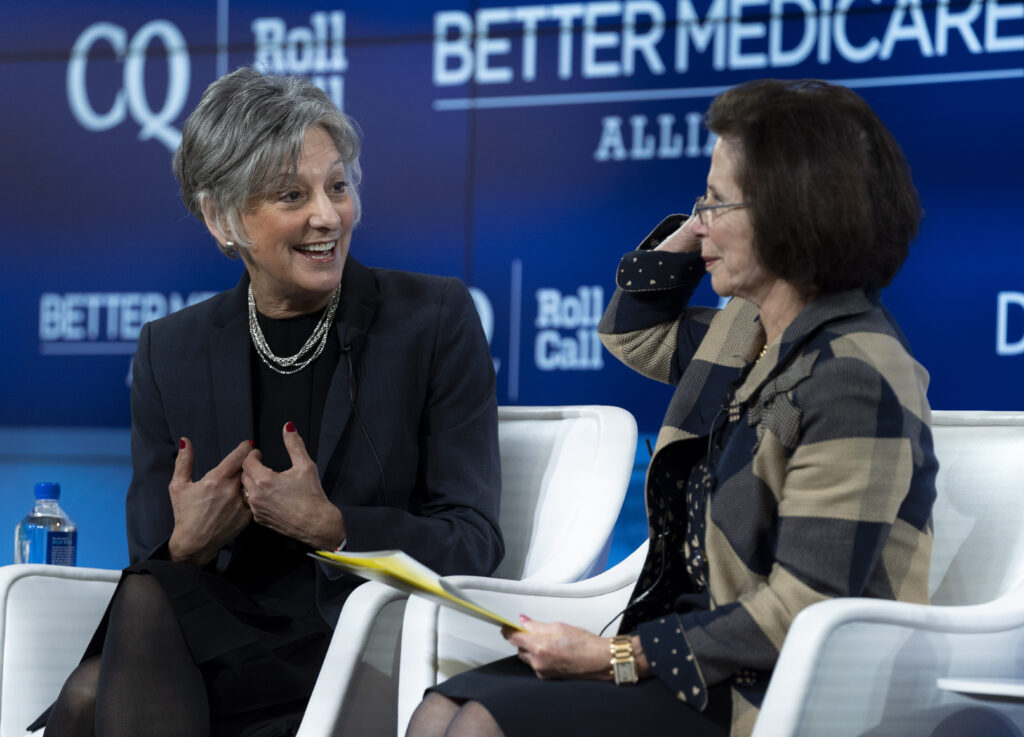 Former Congresswoman Allyson Schwartz in conversation at an event involving the organization she founded and was formerly CEO, the Better Medicare Alliance.  allyson-schwartz-pennsylvania-women-politics-congress-womens-health-medicare