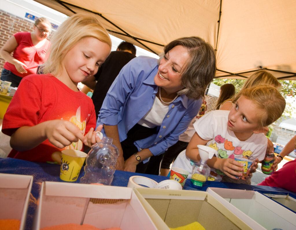 Former Congresswoman Allyson Schwartz speaking with children.  allyson-schwartz-pennsylvania-women-politics-congress-womens-health-medicare