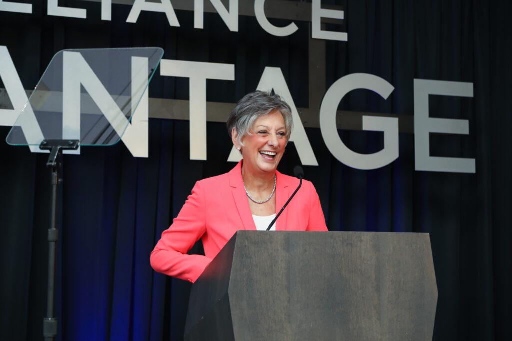 Former Congresswoman Allyson Schwartz speaking at a podium at an event.   allyson-schwartz-pennsylvania-women-politics-congress-womens-health-medicare