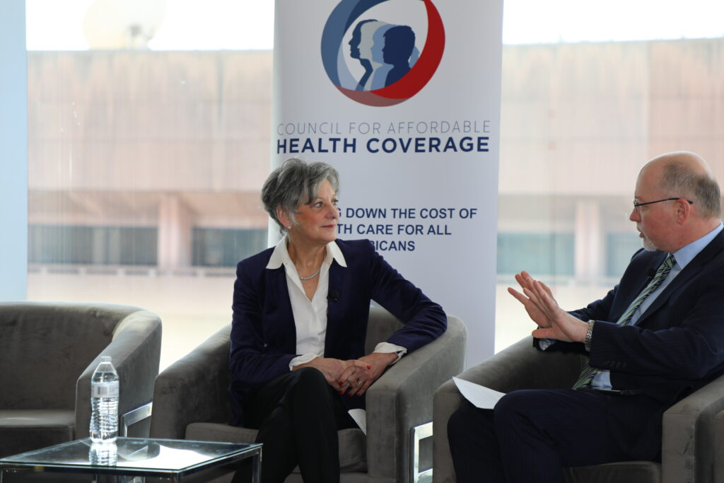 Former Congresswoman Allyson Schwartz at an event hosted by the Council for Affordable Health Coverage.