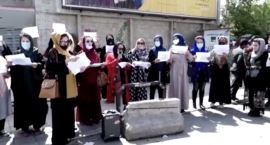 At Gunpoint, Afghan Women Protest in Front of The Taliban